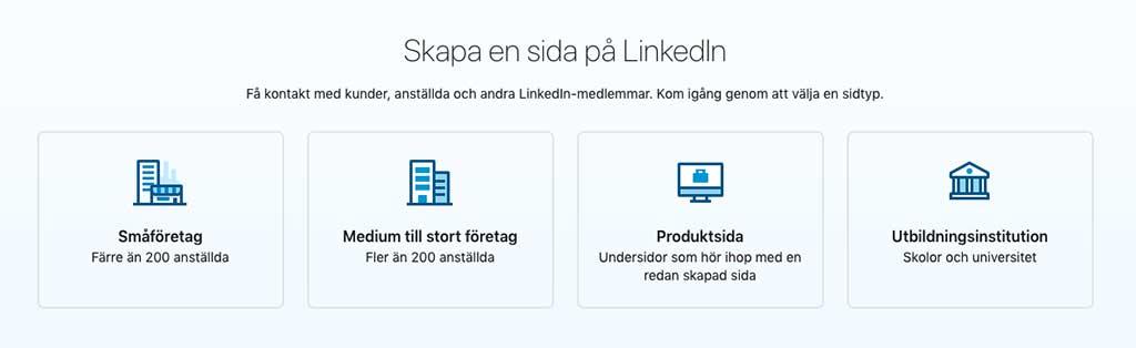 Skapa en sida på LinkedIn - välj sidtyp